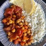 Chickpea Coconut Curry with Cauliflower rice and lemon juice